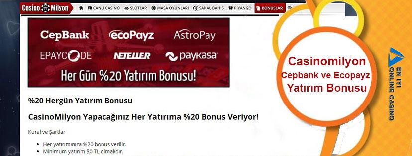 Casinomilyon Cepbank ve Ecopayz Yatırım Bonusu