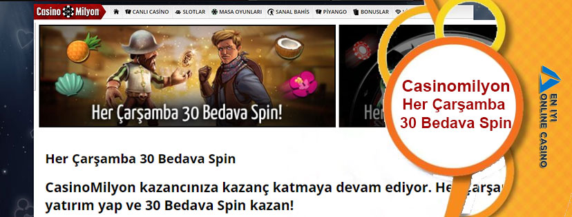 Casinomilyon Her Çarşamba 30 Bedava Spin